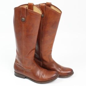 Frye Cognac Melissa Button Boots pull on tall